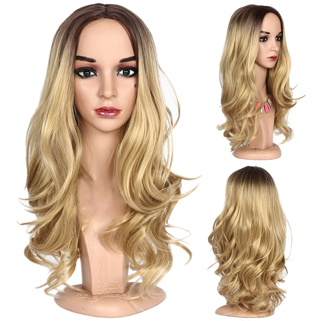 In Stock Women Lady High Temperature Silk Wig Head Over Female Rose Net Long Curly Hair Wig Peluca Perruque Gift Dropshipping