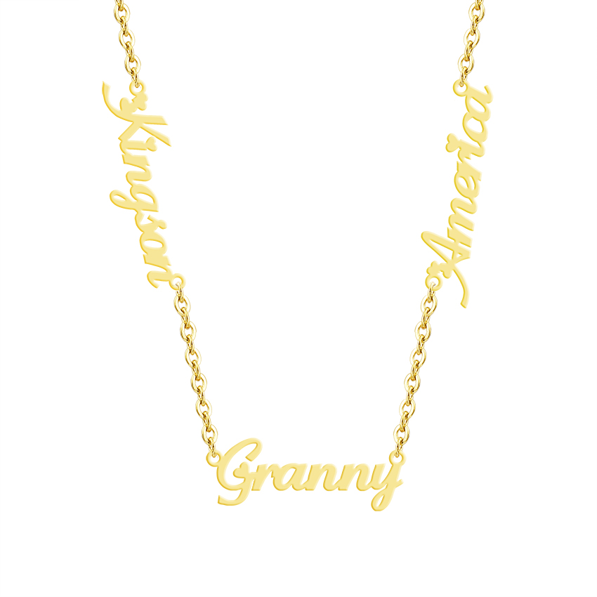 Custom Three Names Necklace Personalized Stainless Steel Gold Color Two Name Nameplate Pendant Choker Gifts For Women Jewelry atoztide customized fashion stainless steel name necklace personalized letter gold choker necklace pendant nameplate gift