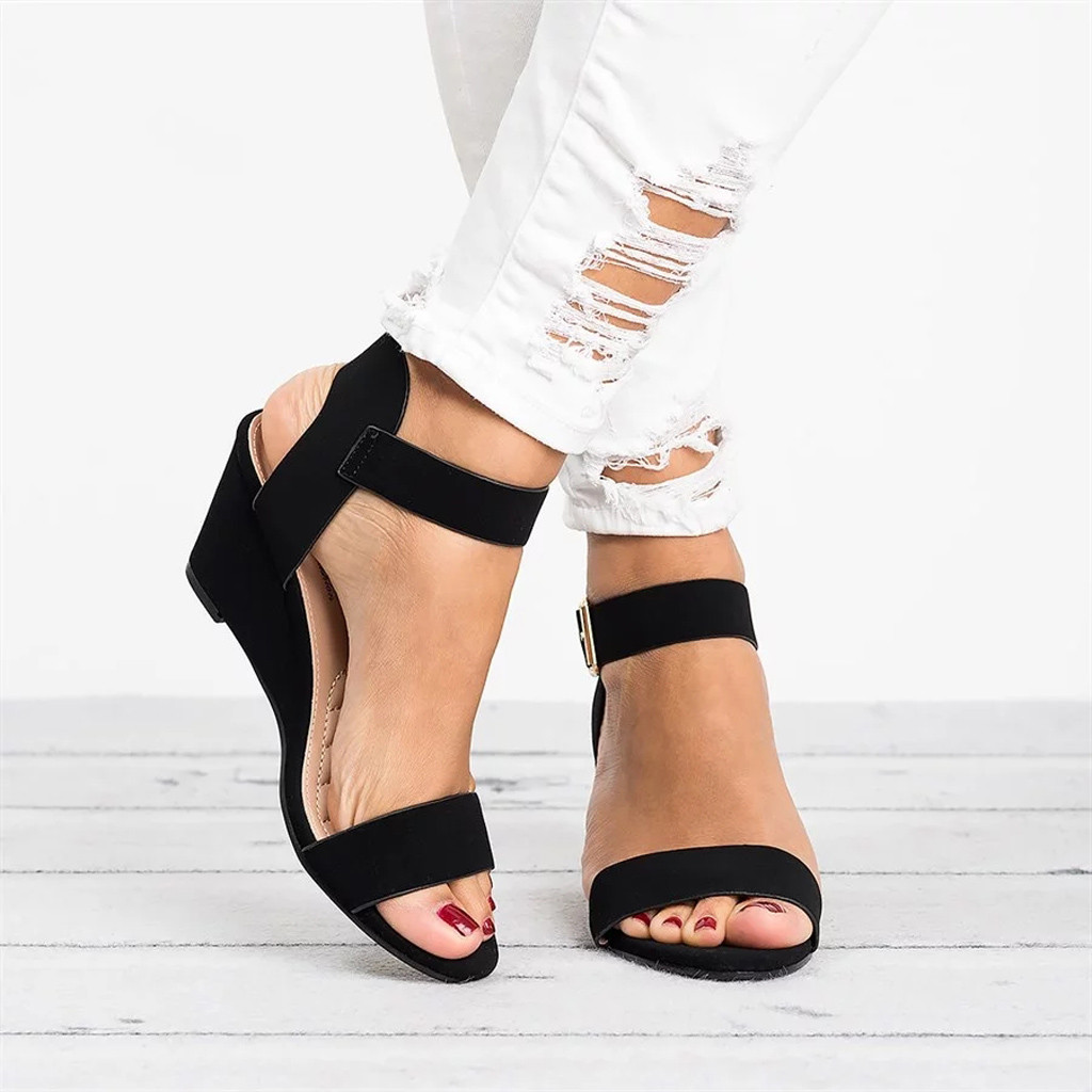 the latest 1c01b ab55d US $3.75 39% OFF|YOUYEDIAN frauen plattform sandalen keile hohe ferse  Schnalle Römische Schuhe Sandalen Damen Solide sommer sandalen 2019 #  w35-in ...