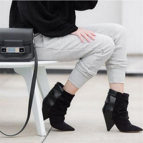 2018 Hot Andrew Women Boots Spike High Heel Ankle Boots Slip On Leather Suede Patchwork Autumn Winter Boots Botas Mujer Shoes hot selling chic stylish black grey suede leather patchwork boots mid calf spike heels middle fringe boots side tassel boots