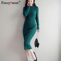 Fencysweet 2018 Winter Warm Knitted Midi Dress Women O Neck Knitting Sweater Bodycon Pencil Dress Long Sleeve Pull Femme Jumper