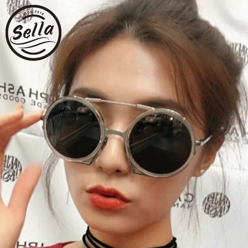 Sella 2018 New Korean Style Retro Round Steampunk Unique Men Women Sunglasses Candy Color Tint Lens Alloy Frame Sun Glasses