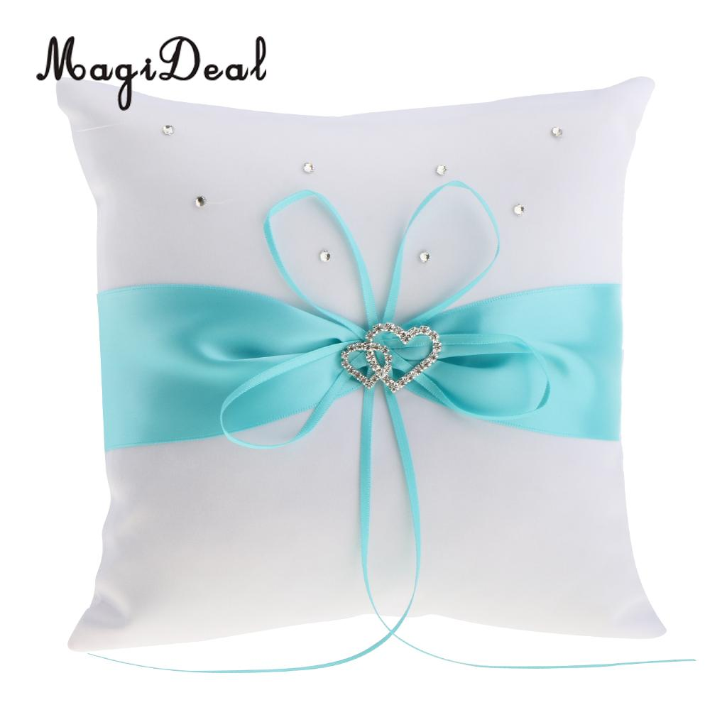 MagiDeal Wedding Ceremony Satin Heart Ring Pillow Diamond
