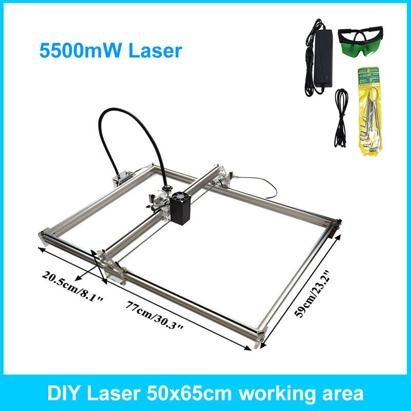 5500mW DIY Desktop Mini Laser Engraver Engraving Machine Laser Cutter Etcher 50X65cm 5500mw diy desktop mini laser engraver engraving machine laser cutter etcher cnc picture logo printer 30 40cm