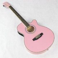 Thin Body Electro Acoustic Electric Folk Pop Flattop Guitar 40 Inch Guitarra 6String Pink Light Built