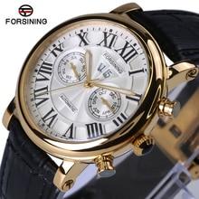 Forsining reloj automático 2017 nueva serie de lujo del diseño de marca de cristal de zafiro superficie caja de oro para hombre relojes de primeras marcas de lujo