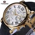 Forsining relógio automático 2017 nova série de design da marca de luxo vidro de safira superfície caso de ouro mens relógios top marca de luxo