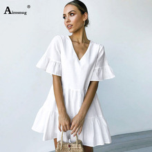 Aimsnug White Fold Casual Open back V-neck Solid Summer Dress Women 2019 Beach Short Sleeve A Line Bohemian Mini Flared Dresses