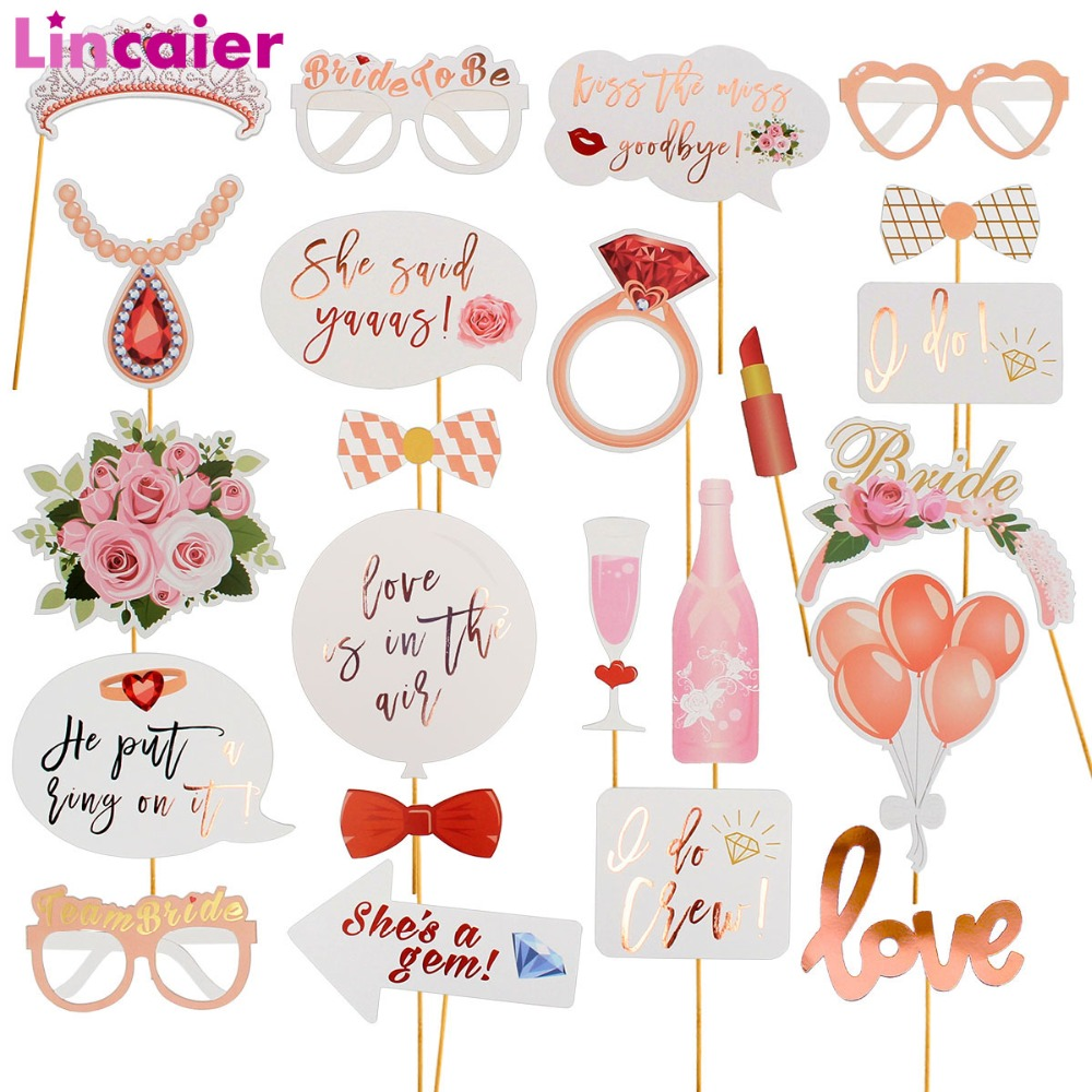 lincaier wedding photo booth props just married photobooth party decorations bridal shower bachelorette accessories birthday