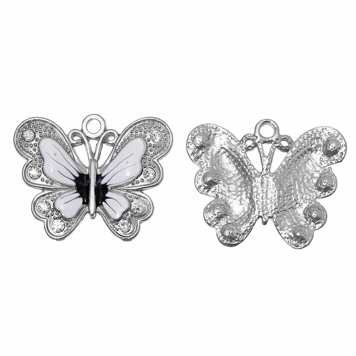 Doreenbeads Logam Seng Paduan Berlian Imitasi Pesona Liontin Butterfly Silver Warna Putih Bening Rhinestone Enamel 34 Mm X 27 Mm, 1 Pc