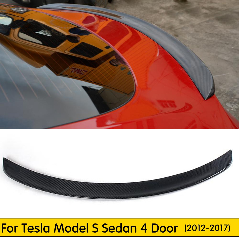Carbon Fiber Rear Spoiler Tail Trunk Boot Lid Wing Fit For Tesla Model S 4 Door Sedan 2012 2013 2014 2015 2016 Car AccessoriesCarbon Fiber Rear Spoiler Tail Trunk Boot Lid Wing Fit For Tesla Model S 4 Door Sedan 2012 2013 2014 2015 2016 Car Accessories