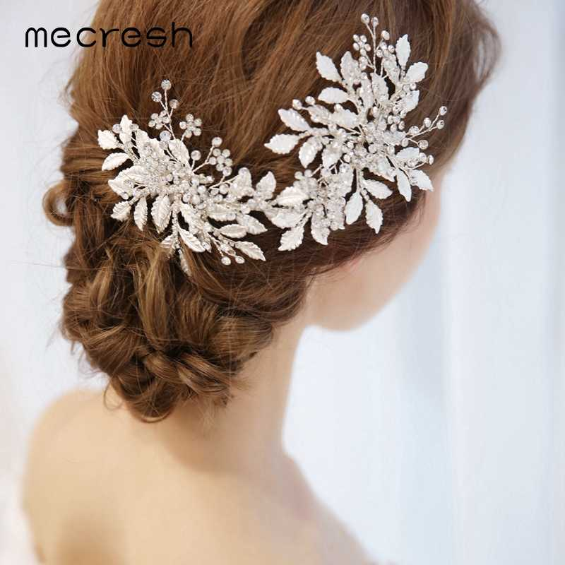Mecresh Silver Color Bridal Headpiece Women Accessories For Bride Princess Rhinestone Hair Vine Hair Combs Wedding Jewelry FS174