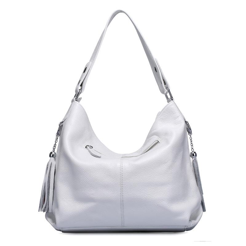 2018 New Fashion Soft Real Genuine Leather Tassel Women Handbag Elegant Ladies Hobo Shoulder Bag Messenger Purse Satchel White  3