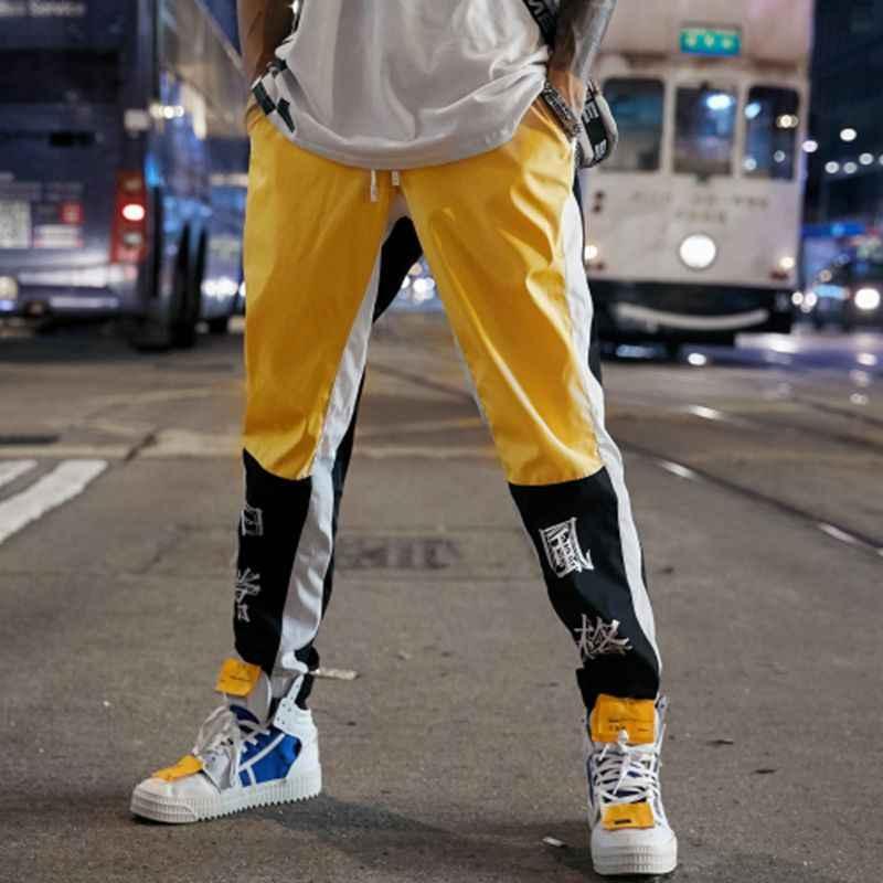 Una Reta Hip-Hop Pantolon Mens Yeni Moda Çin karakter baskı harem pantolon Streetwear Erkekler Casual Joggers Pantolon Sweatpants