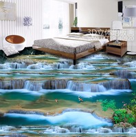 Free Shipping Flowing Water Wealth Fairy Waterfall 3D Floor Painting Conference Room Office Decoration Floor Wallpaper
