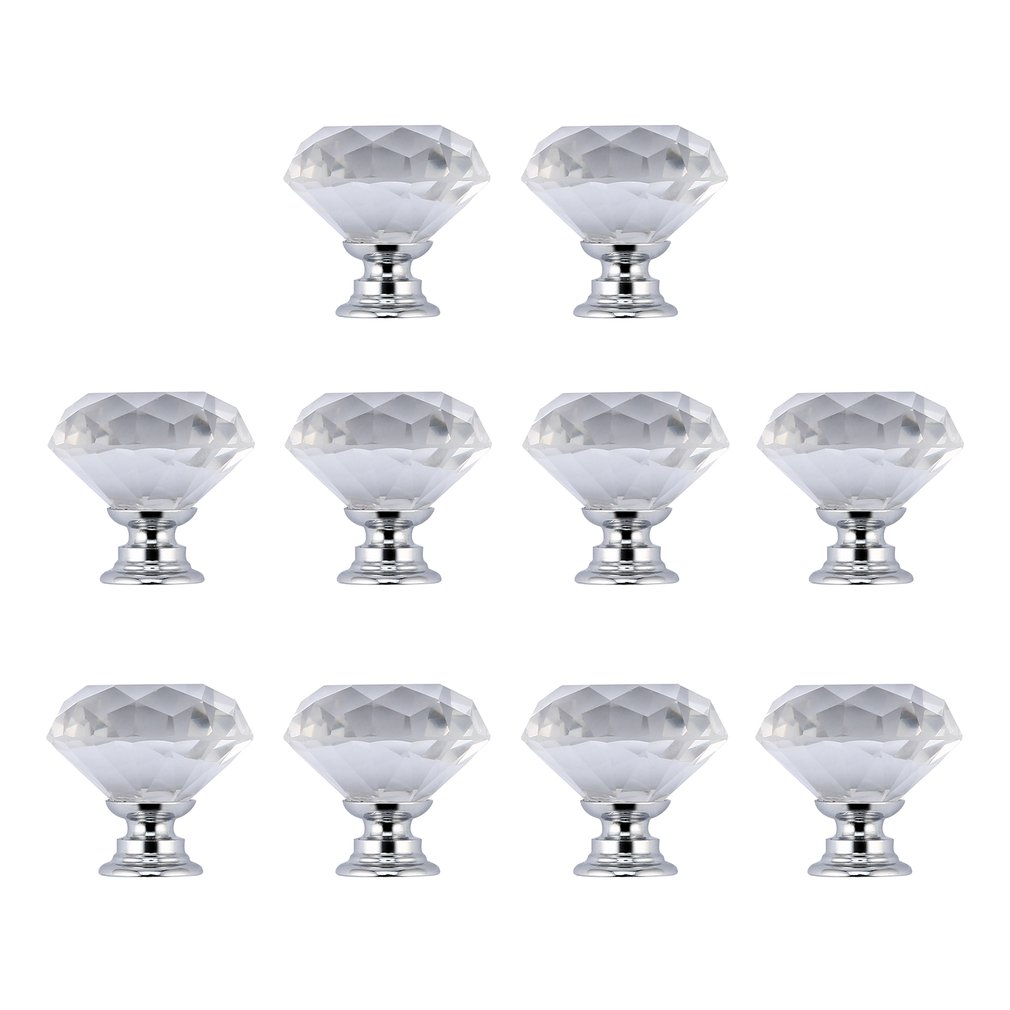 OUTAD 10PCS 40mm Crystal Glass Door Knobs Diamond Shape Clear Shiny Door Knobs for Drawer Cupboard Handle Cabinet Home Decor slv настенный светильник slv enola b torch 152000