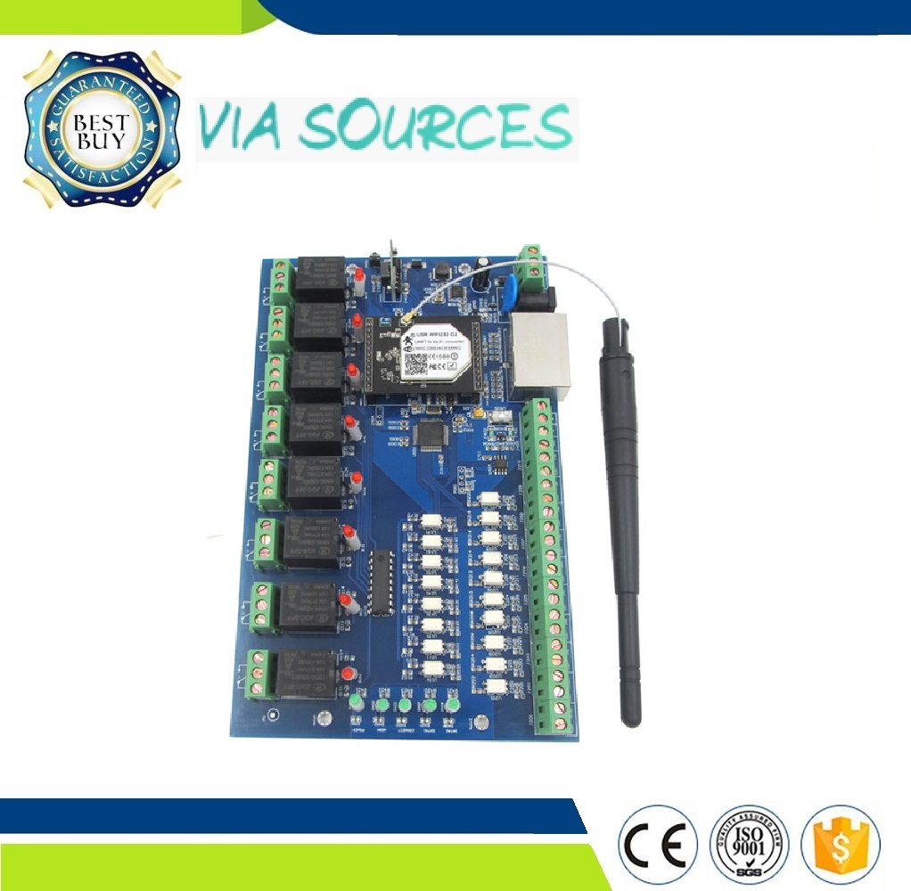 Free Shipping LAN WAN Wifi Relay Board with 8 Inputs 8 Outputs,Remote Control Switch module for industrial machine equipment pci 953 industrial control board
