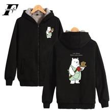 LUCKYFRIDAYF We Bare Bears Thick Hoodie Zipper Cute Sweatshirt Winter Warm Cotton High Quality Jacket Funny Coat Plus Street