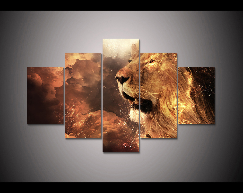 5 panel HD printed canvas print painting scary lion animal poster modern Home Decor Wall art Pictures For Living Room  F1237