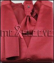 NEW Men's suit  red Vest waistcoat & ascot tie set wedding