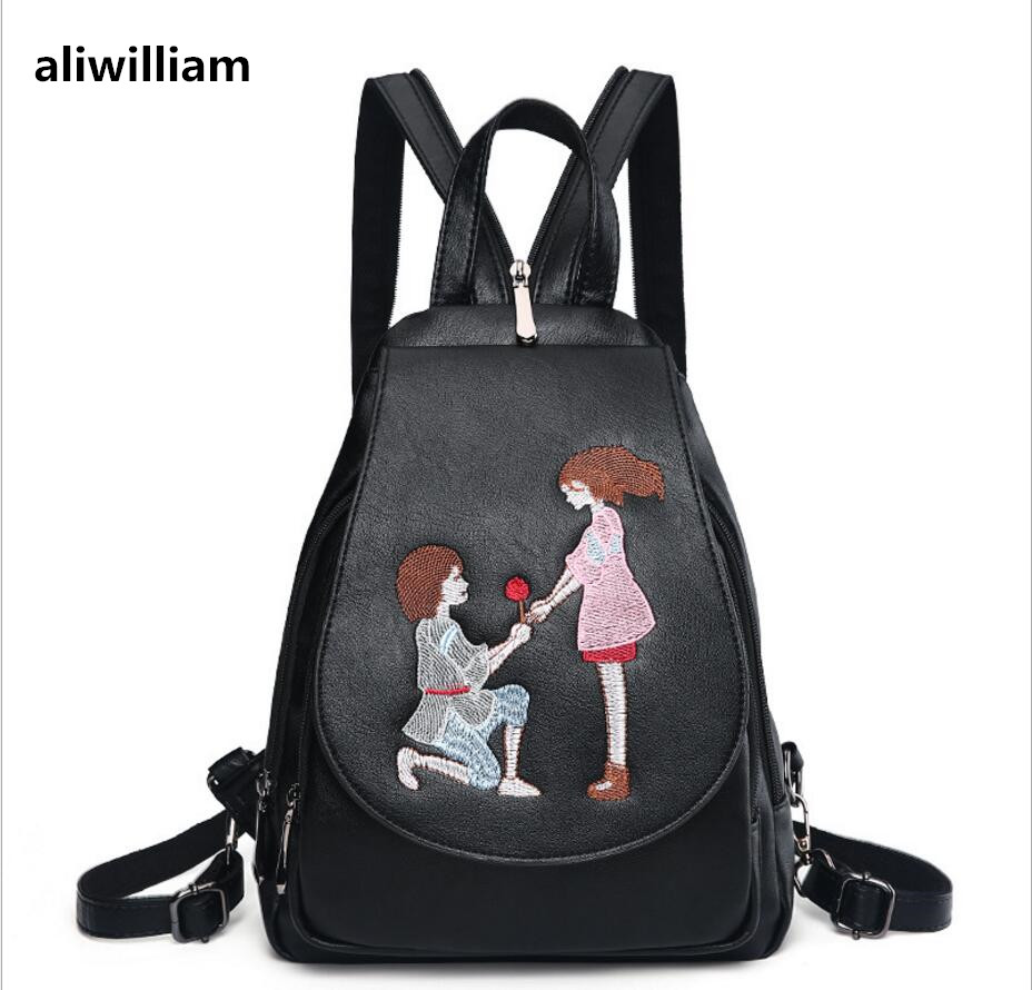 ALIWILLIAM 2017 New Backpack Female Wild Retro Embroidery Tide Ladies Backpack Multi-functional Package College Style Female Bag aliwilliam bag female 2017 autumn new