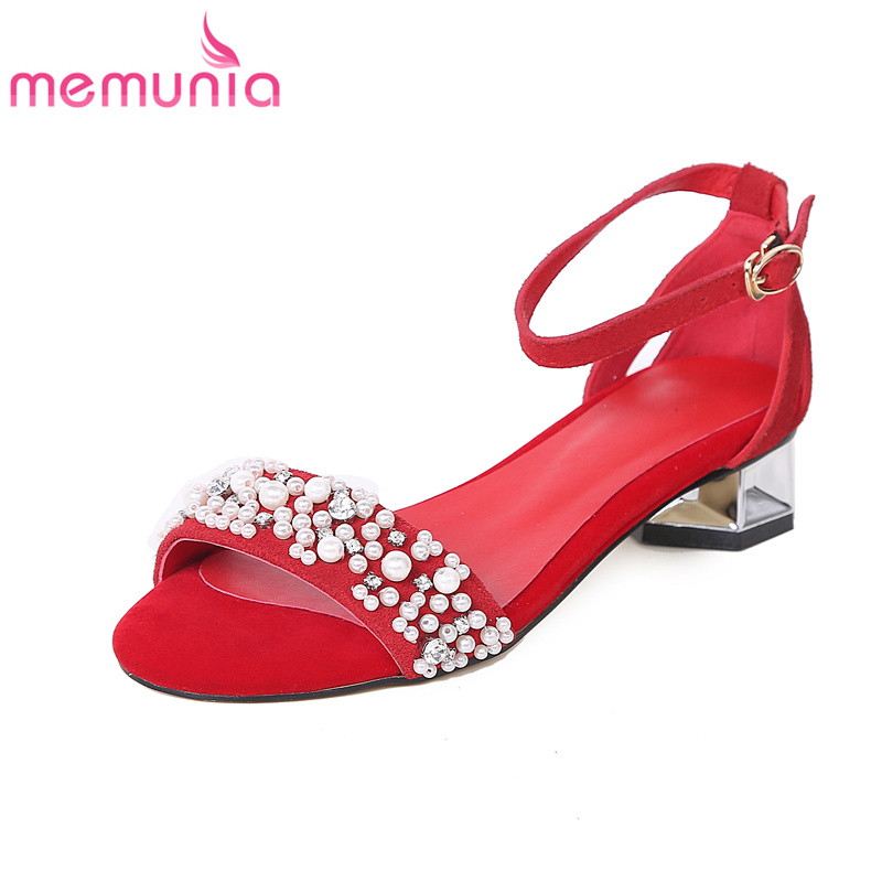 ФОТО MEMUNIA 2017 new arrive women sandals string bead genuine leather fashion buckle summer shoes elegant sweet comfortable
