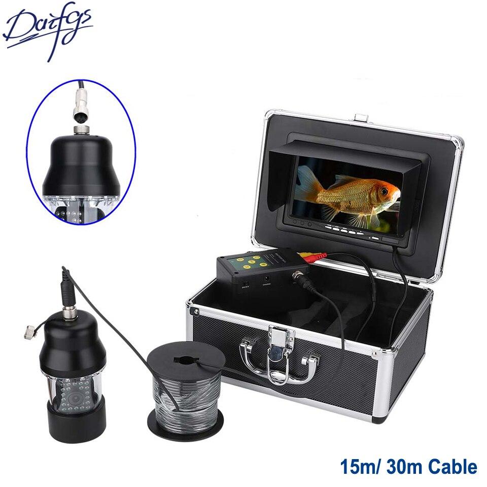 Profesional 30 m HD 1000TVL subacuática pesca cámara de vídeo 7 ''pantalla impermeable 22 ledes 360 grados giratoria Cámara buscador de peces