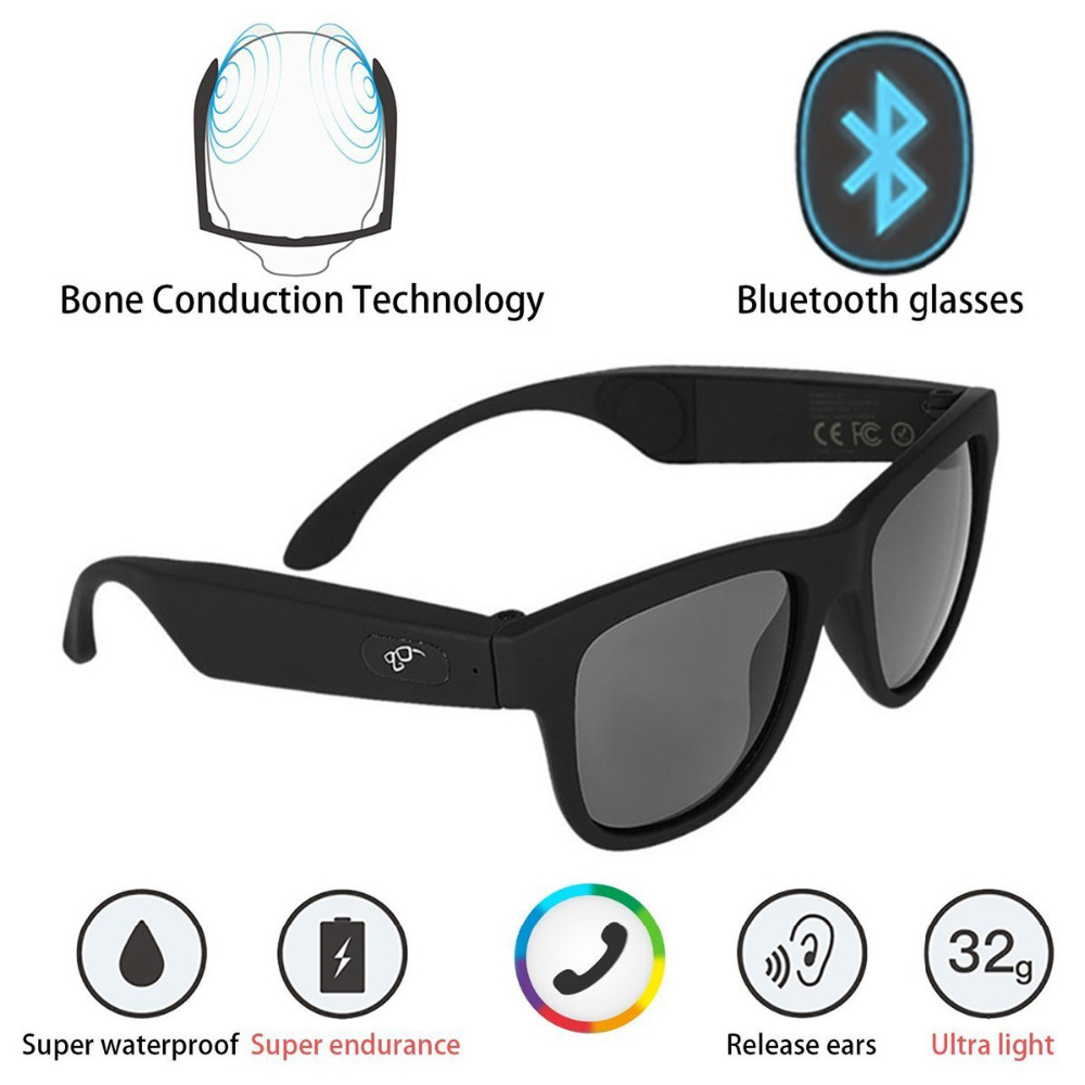G1 Polarized Glasses Bone Conduction Headset Sunglasses Bluetooth SmartTouch Stereo Earphones Wireless Headphones w Microphone