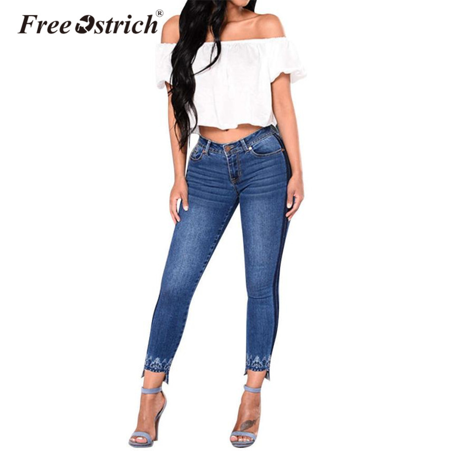 FREE OSTRICH 2020 Women's Jeans Trousers High Waist Jeans Mujer Female Jeans Pant Lace Plus Size Denim Pants Oct5