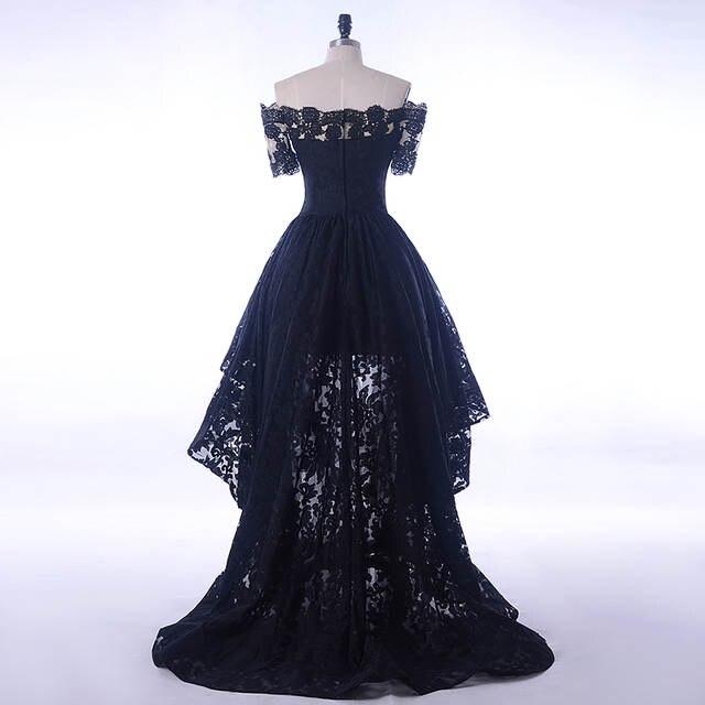 8886e22866 US $107.99 28% OFF|Black Lace Dress Evening Short Front Long Back 2018 Boat  Neck Prom Dresses For Elegant Women Formal Wedding Party Short Sleeve-in ...