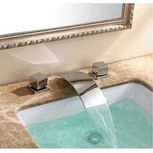 3 Отверстия Двойной Ручкой Смесители Ванна Новый Бренд Квадрат Роскошные Широкое Мыть Носик Водопад Ванной Кран Хромированная Отделка