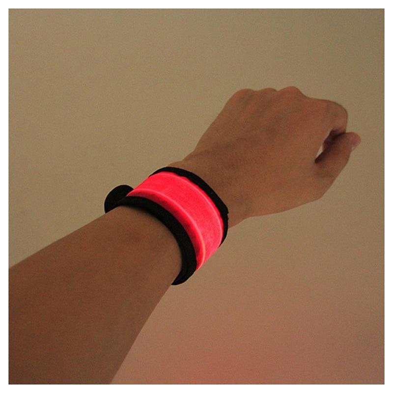 Novelty LED Light Flashing Nylon Wrist Band Armband Hairband Safety Sport(red S)