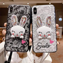 Cute lace pattern rabbit phone case For iphone XS MAX XR X 6 6s 7 8plus diamond lanyard TPU hard shell protective cover