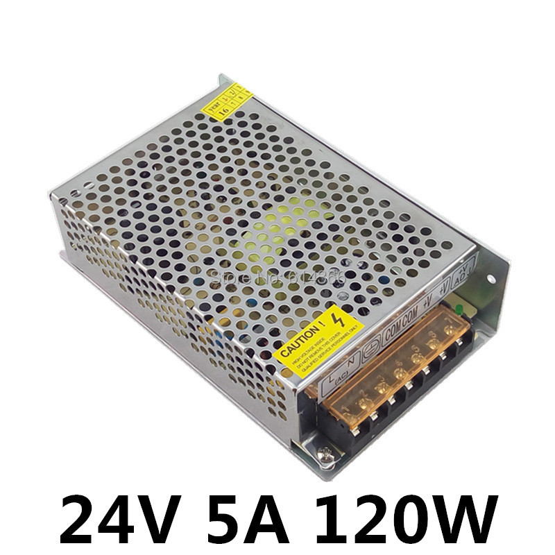 Best quality <font><b>24V</b></font> <font><b>5A</b></font> <font><b>120W</b></font> Switching Power Supply Driver for LED Strip AC 100-240V Input to DC <font><b>24V</b></font> image
