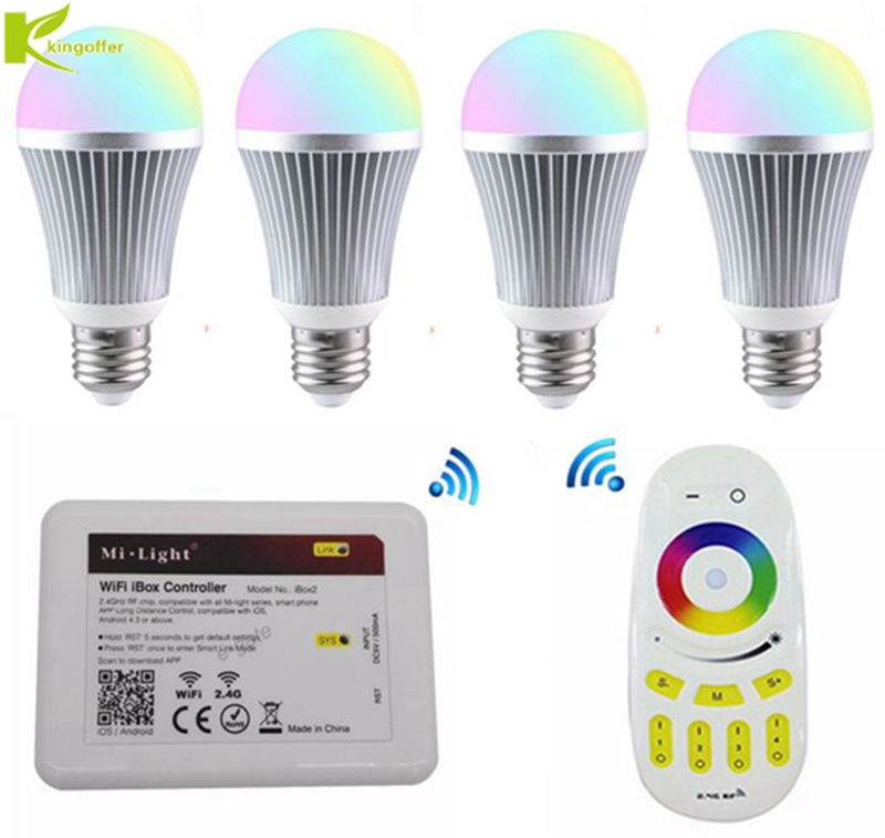 все цены на Kingoffer 4pcs Dimmable 9W E27 LED RGBCW or RGBWW Bulb Milight AC85-265V lamp& Four Zone Wireless Remote &1 PC WIFI Controller