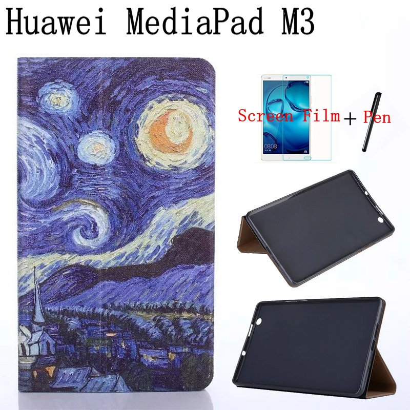 Vintage Oil Painting Series Smart Leather Cover for Huawei MediaPad M3 BTV-W09/DL09 8.4 Tablet Case+Free Screen Protector+Pen mediapad m3 lite 8 0 skin ultra slim cartoon stand pu leather case cover for huawei mediapad m3 lite 8 0 cpn w09 cpn al00 8