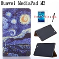 "Vintage Oil Painting Series Smart Leather Cover for Huawei MediaPad M3 BTV-W09/DL09 8.4"" Tablet Case+Free Screen Protector+Pen"