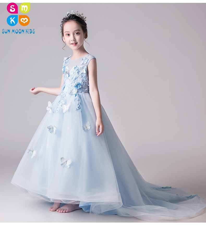 2018 Long Trailing Girl Wedding Dress Elegant Floral First communion Dress Summer Girl Dress Princess Tutu Dress Vestidos schwarzkopf краситель без аммиака 3 62 темный коричневый шоколадный пепельный essensity permanent colour 60 мл
