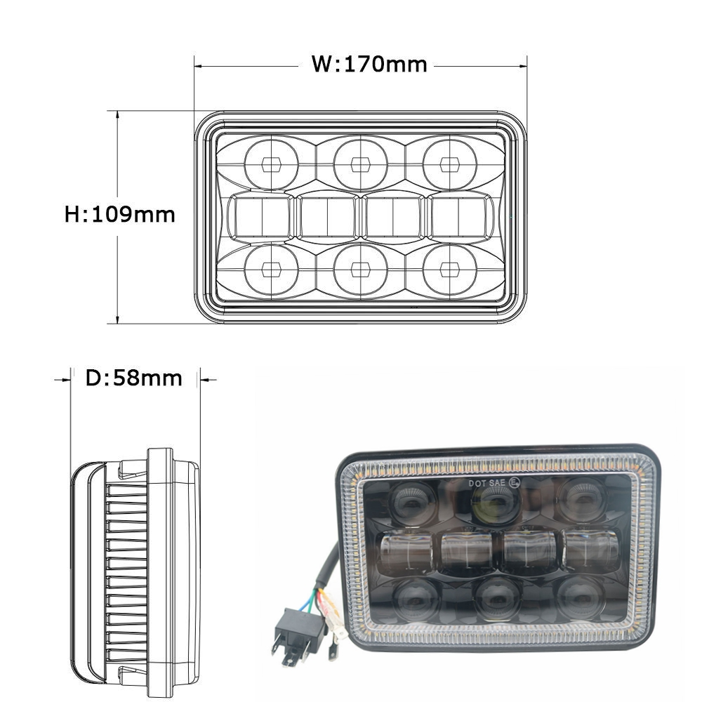 Yait 2pcs 4x6 Inch Led Headlights Drl H4651 H4652 H4656 H4666 H6545 Headlight Wiring Diagram For Freightliner Kenworth Peterbilt Chevy K5 K10 K20 K30 On Alibaba