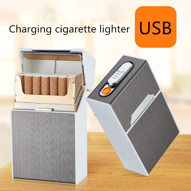 Cigarette-filled cigarette case with windproof lighter cigarette lighter cigarette accessory function two in one