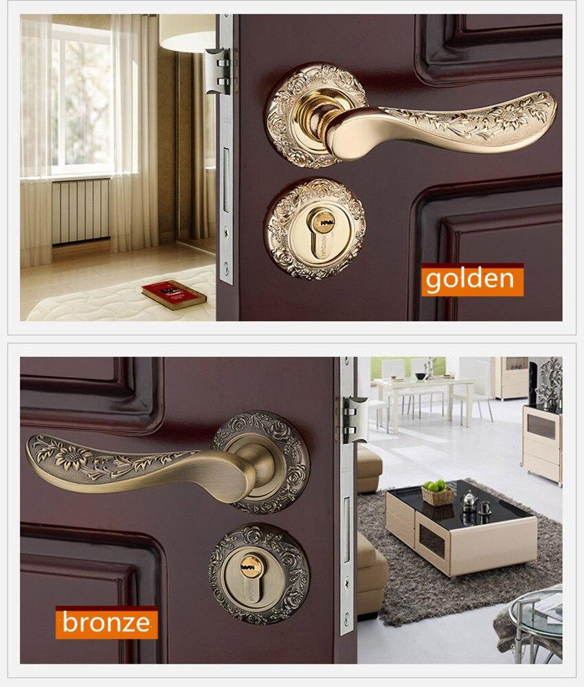 Mode moderne créative or intérieur solide en bois serrure de porte antique bronze solide sculpture mécanique muet chambre serrure de porte
