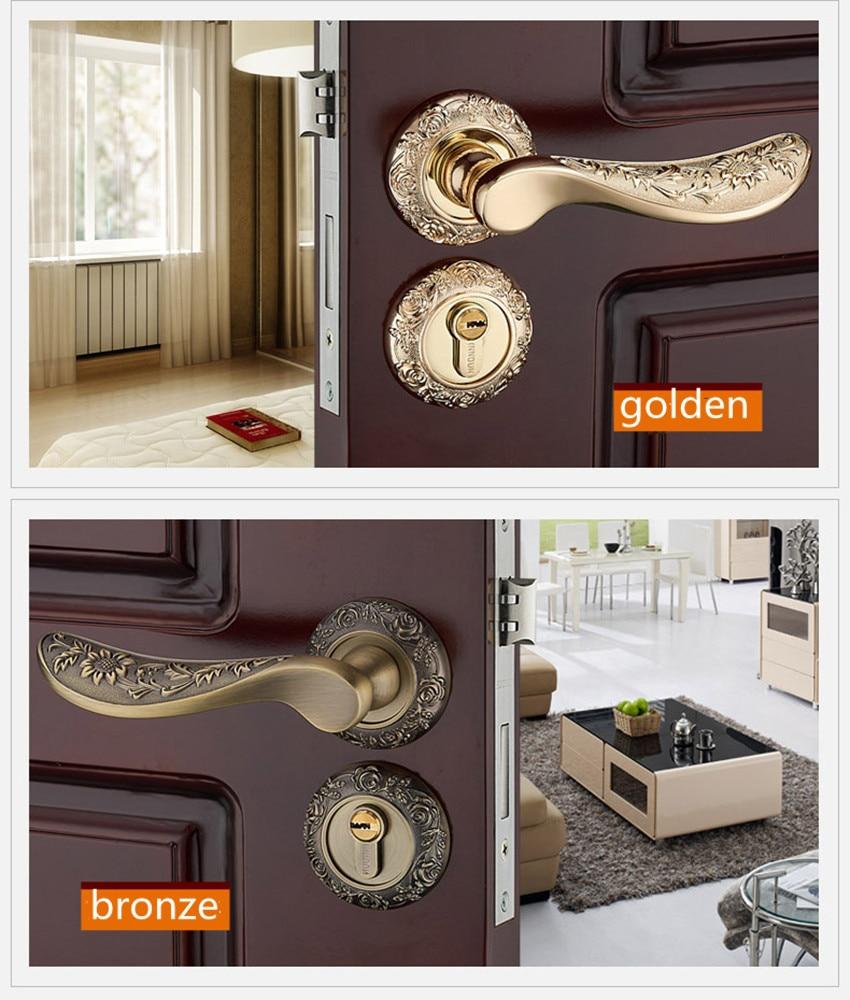 Modern fashion creative gold interior solid wooden door lock antique bronze solid Carving mechanical mute bedroom door lock цена