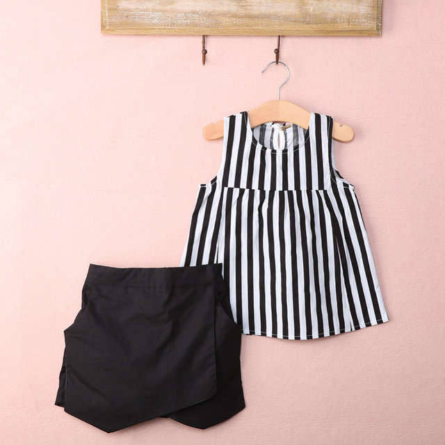 dbdcab3e4003 2016 NEW Hot-selling 2pcs Baby Kids Girls Summer Clothes Sleeveless Striped  Tops Blouse+Asymmetric Shorts Outfits set 2~7Y