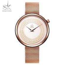 2019 New Shengke Women Gold Watch Fashion Clock Vintage Design Ladies Luxury Brand Classical mesh strap Slice Gifts