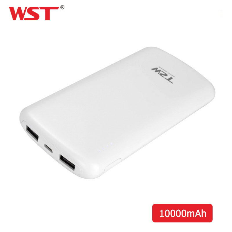 WST 10000mAh Power Bank Quick Charge Dual USB Powerbank External <font><b>Battery</b></font> <font><b>Pack</b></font> <font><b>10000</b></font> <font><b>mAh</b></font> With LED Light for iPhone Xiaomi Samsung image