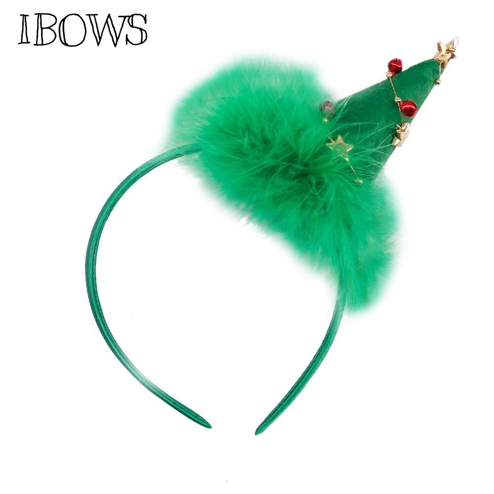 Christmas Tree Hat Hair Bands Jingle Bells With Plush Pompom Headband For Kids Girls Festival Headwear Fashion Head Hoop