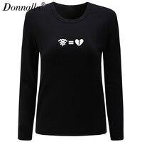 Donnalla Women T Shirt O Neck Long Sleeve New Cotton Shirt No Wifi No Happy Letter