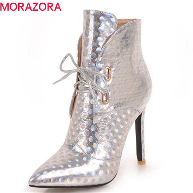 MORAZORA 2018 new arrival ankle boots women pointed toe spring autumn boots lace up sexy high heels shoes woman fashion boots цены онлайн