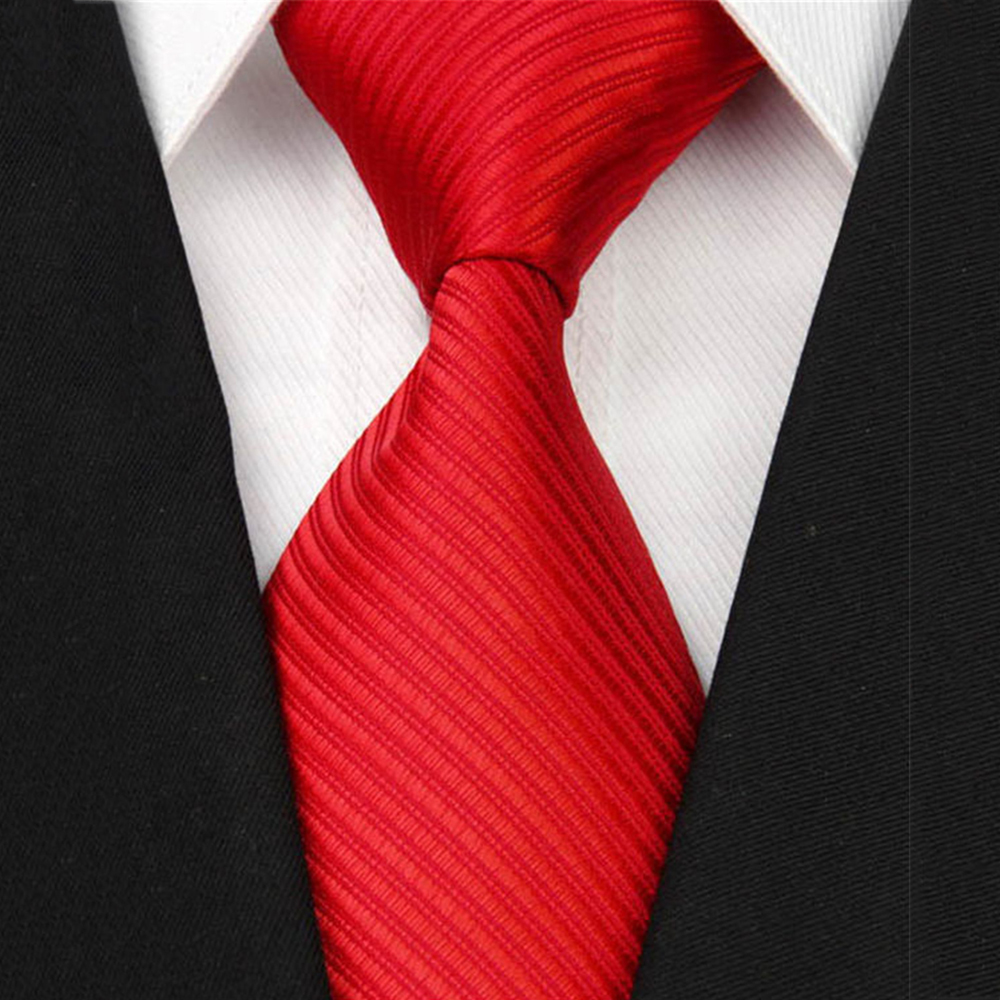 "2018 New Wide Silk Ties for Men Striped Solid 4""/10cm Men's Neckties Business Wedding Suit Neck Tie Red Black White Gravatas NT"