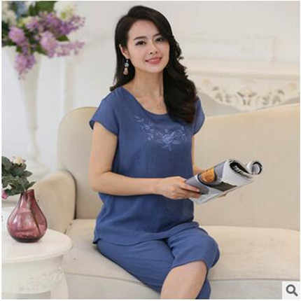 נשים פיג בית בגדים בתוספת גודל הלבשת סט קצר שרוול פיג 'מה נשים פיג' מה סטי כותנה פשתן מות XL-4XL A525